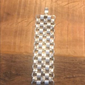 Silver braclet with diamonds